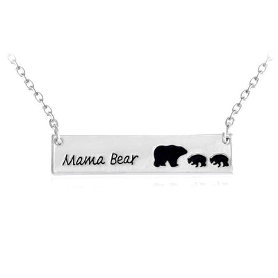Mama Bear Tag Engraved Animal Pendant Necklace - silver2