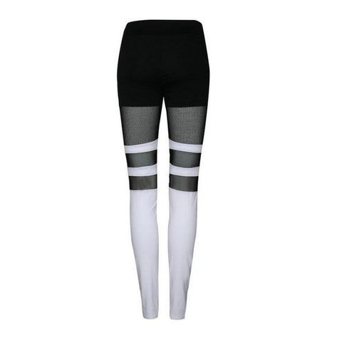 Women Yoga Compression Pants Mesh Leggings Female Elastic Tights Sexy Yoga Workout Gym Mid Waist Pants #11