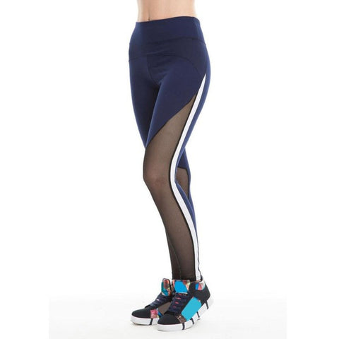 Women Compression Sports Yoga Pants  Fitness Sport Leggings Sexy Mesh Patchwork High Waist Slim Yoga Pants #E0