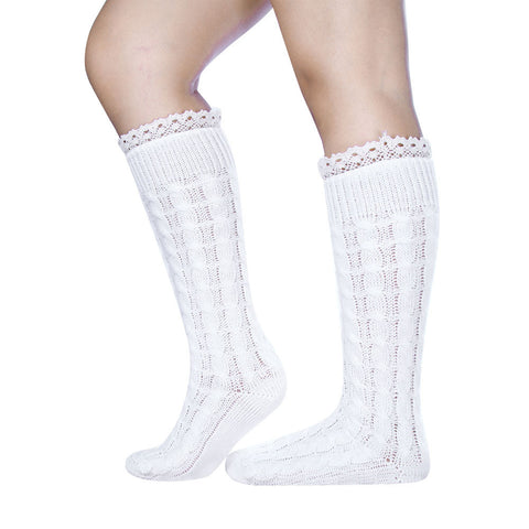 Womens Long Leg Sports Socks For Boots Twisted Lace Thick Leg Socks soft Knit Ankle Warmers Crochet Sock Meia