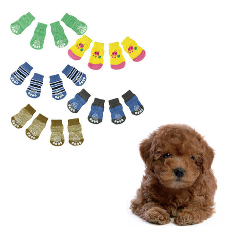 Super Deal 2016 Fashion 4Pcs Cute Puppy Dogs unisex Pet Knits Socks Anti Slip Skid Bottom socks for dogs pet socks meias