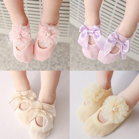 3Pair/Lot Princess Style Children Boy Girl Socks Lace Flower Soft Cotton Baby Girls Bowknot Ruffle Floor Socks Baby Infant Socks