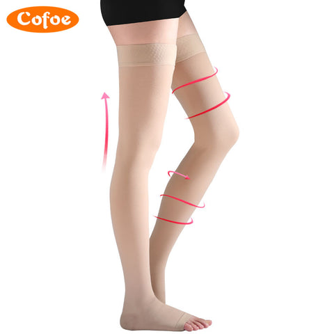 Cofoe 1 Pair Medical Compression Stockings Varicose Veins Socks Level 2 Pressure 23-32mmHg Above The Knee Skin Color For Women
