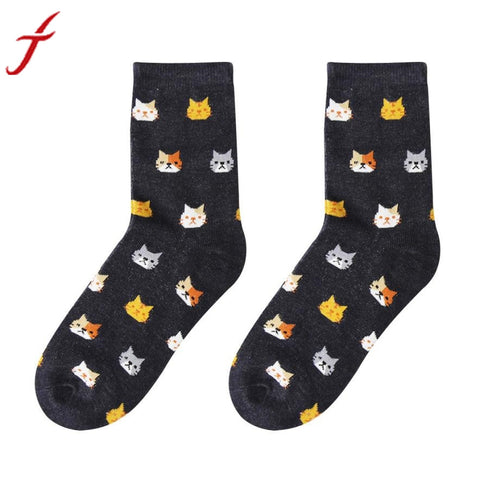 Feitong 1 Pair Funny Socks Cute long happy Socks Women Girl Casual Comfortable Character Print Cotton Cat Socks calcetines mujer