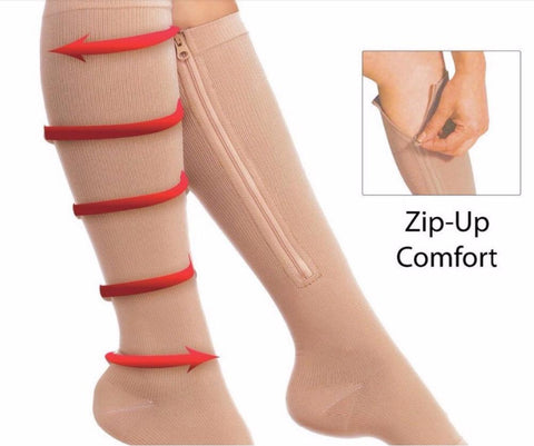New Zip Sox Compression Women Men Stockings Thin Leg Support Knee Zipper Stockings Open Toe Burn Fat varicose veins Stockings
