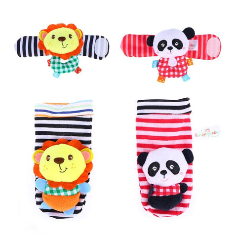 4PCS Soft Plush Animal Wrists Rattle and Foot Finder Socks Set Best Gift Early Educational Development Toy for Infant Baby Boys and Girls