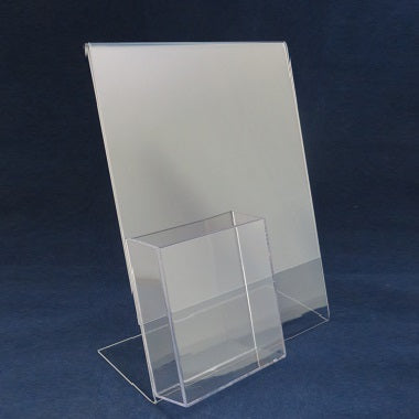Slant Back Sign Holder with Brochure Holder