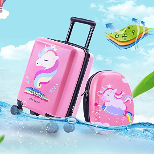 Unicorn Kids Carry On Luggage Set with Spinner Wheels