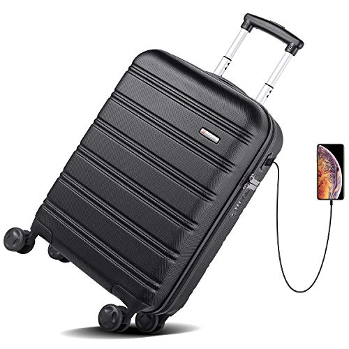 Hard Sided Spinner Carry On Suitcase - 2 USB Charging Ports & Built-in TSA Lock