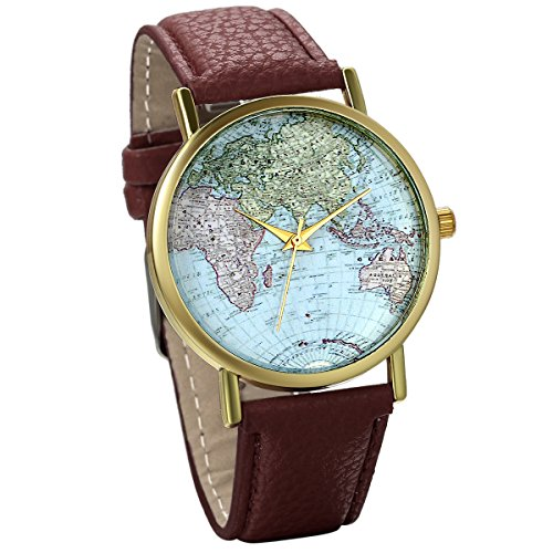 Classic Leather World Map Watch