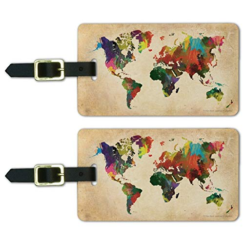 2 Colorful Map Of The World Luggage Tags