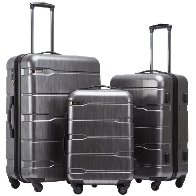 3 Piece Suitcase Set with Spinner Wheels & TSA lock
