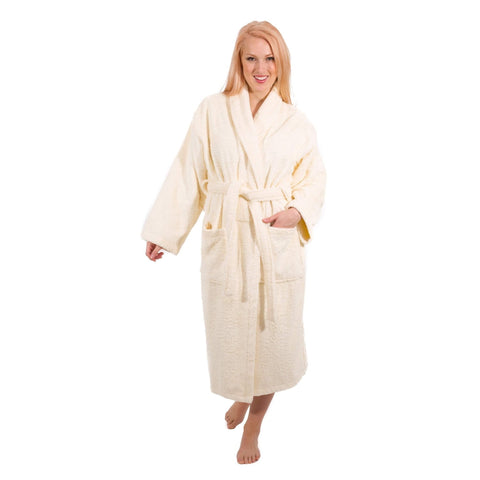 Amazon Salbakos Ivory Womens Terry Cloth Bathrobe Turkish Cotton