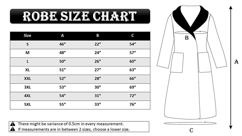 Bathrobe size chart
