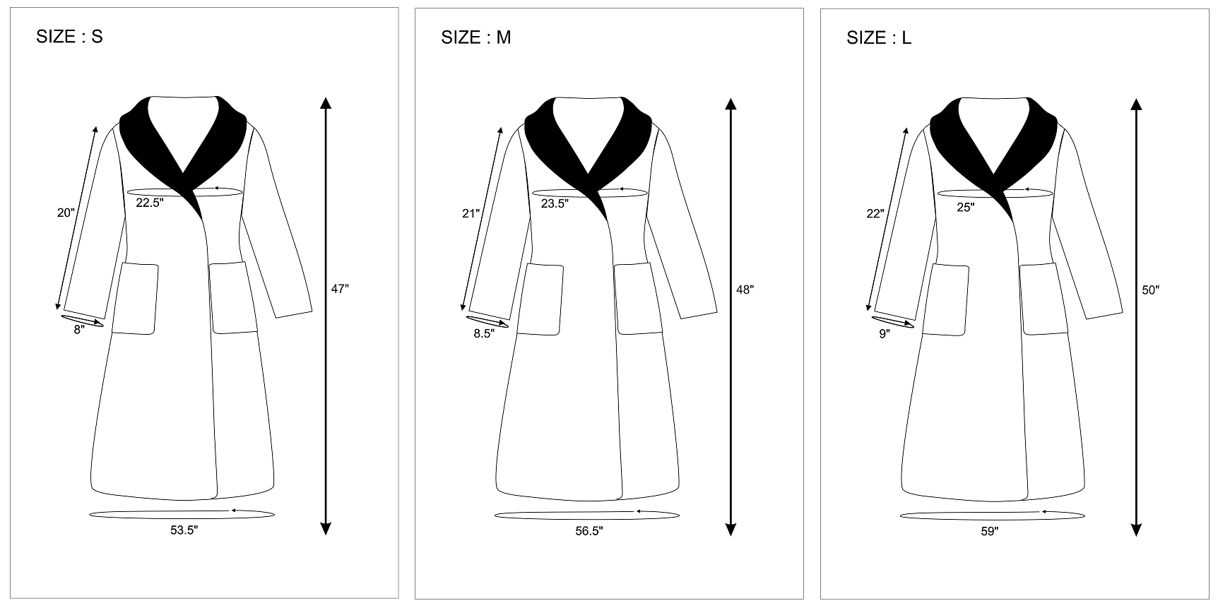 Turkish Robes Size Chart