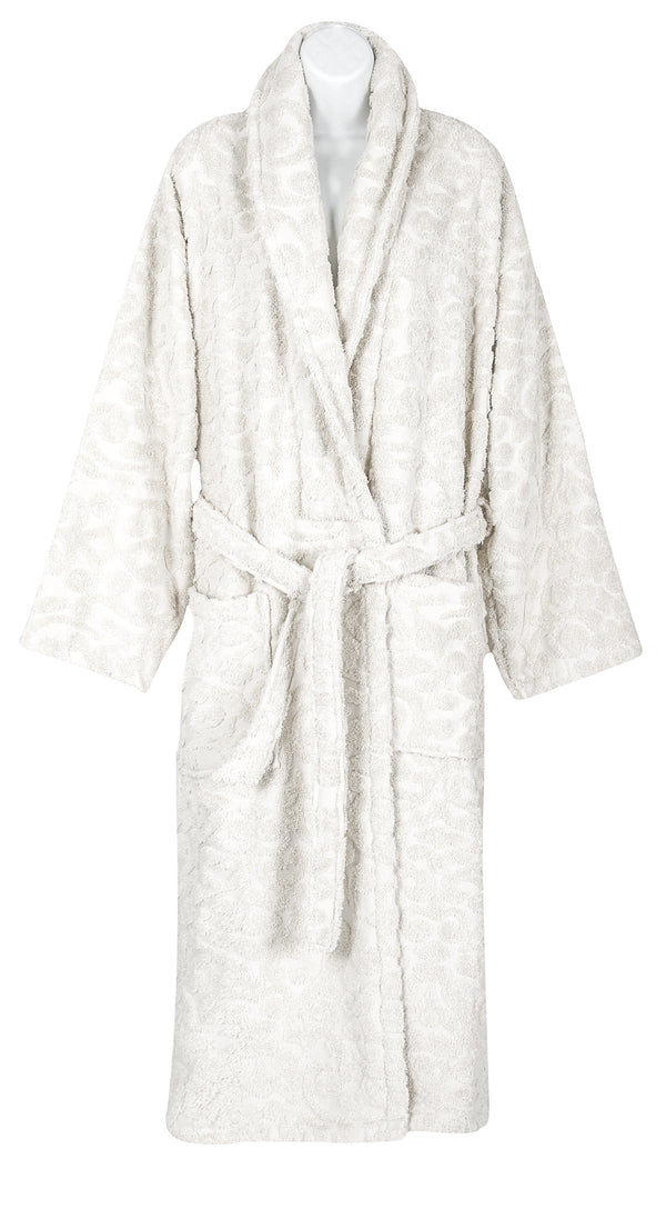 Duchene Jacquard Turkish Cotton Bathrobe - Classic Turkish Towels