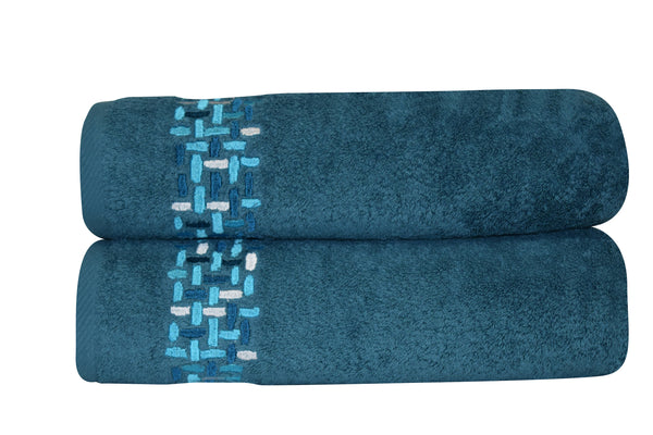 Ivone Embroidered Turkish Cotton Bath Towels - 2 Pieces | Classic Turkish Towels