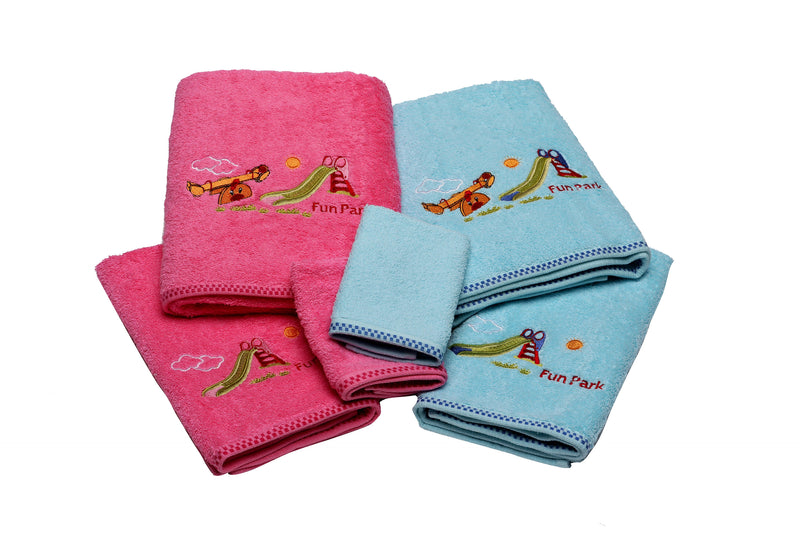 Kids Embroidered Turkish Cotton Towel Set of 6 | Classic Turkish Towels