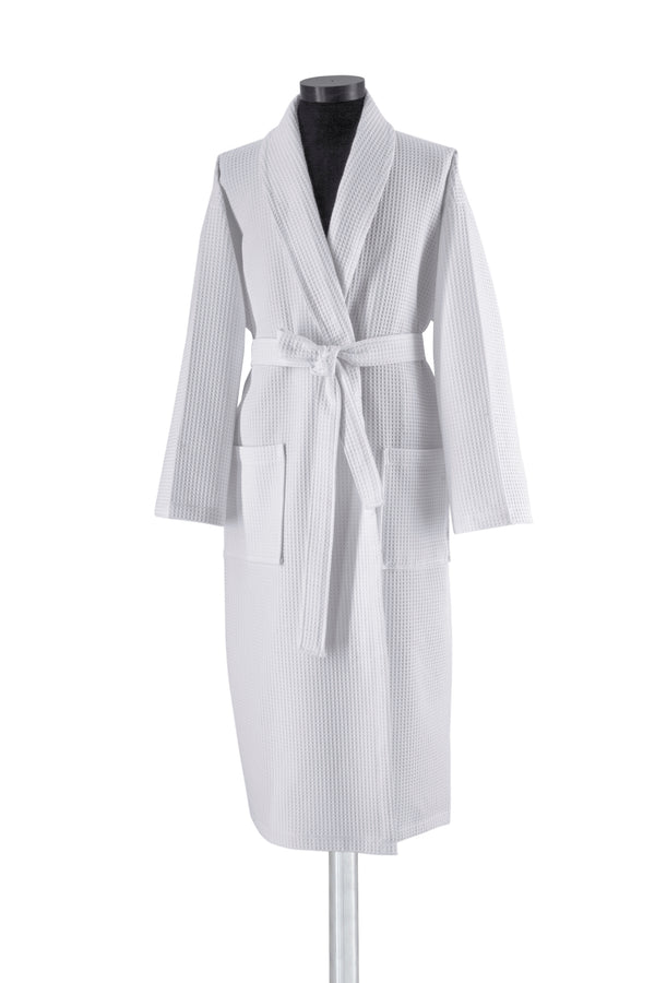 White Kimono Turkish Cotton Waffle Bathrobe - Classic Turkish Towels