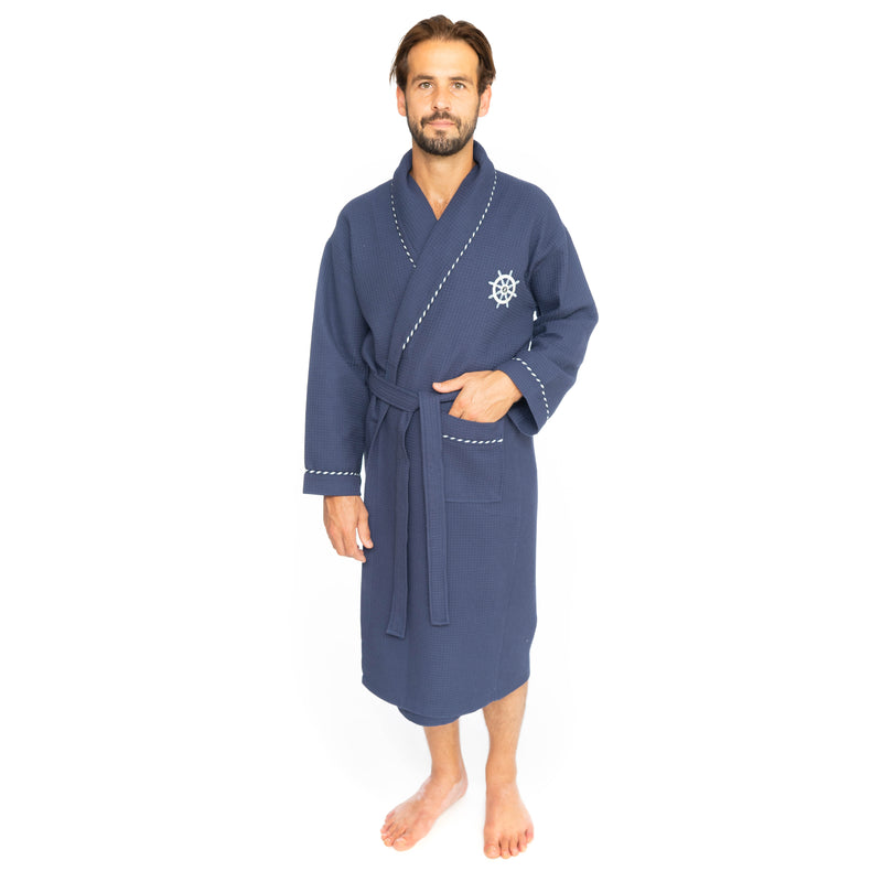 Classic Turkish Cotton Nautical Sailor Bathrobe | Classic Turkish Towels