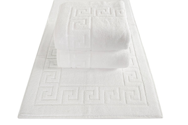 Cambridge Turkish Cotton Greek Key Bath Mat - 3 Pieces | Classic Turkish Towels