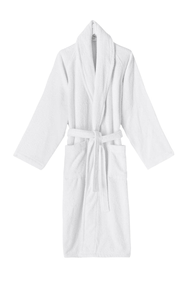 White Shawl Collar Turkish Cotton Terry Bathrobe - Classic Turkish Towels