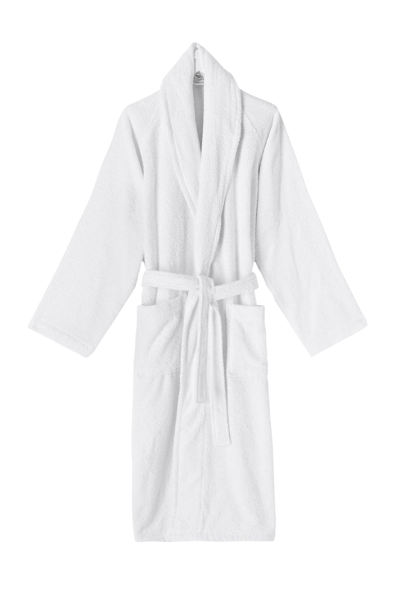 White Shawl Collar Turkish Cotton Terry Bathrobe | Classic Turkish Towels