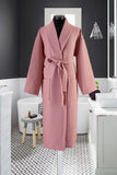 Waffle Weave Shawl Collar Robe Long Length Spa Bathrobe 100% Turkish Cotton | Classic Turkish Towels