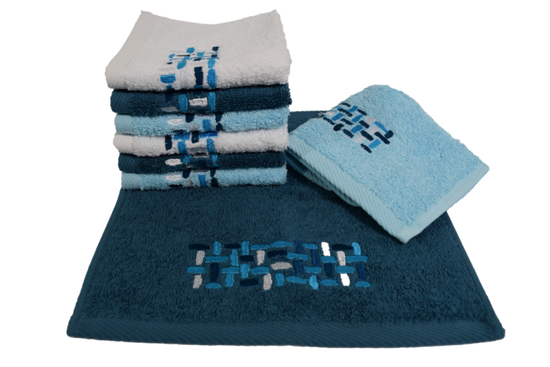 Ivone Embroidered Turkish Cotton Hand Towels - 4 Pieces | Classic Turkish Towels
