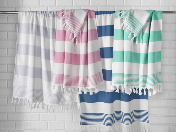 Peshtamal Turkish Cotton Bath Sheets Multi-Color Set of 4 | Classic Turkish Towels