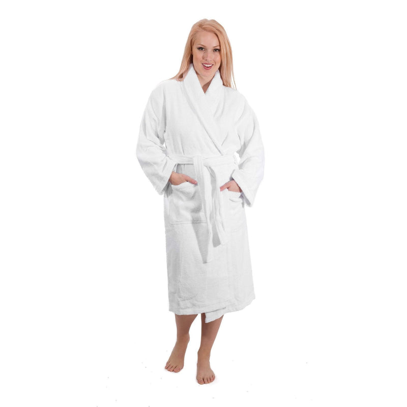 WHITE Terry Cloth Turkish Cotton Bathrobe - Sizes Small to 5XLT | Classic Turkish Towels