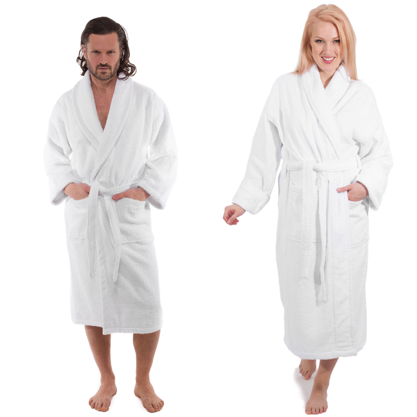 White Terry Cloth Turkish Cotton Bathrobe - Sizes Small to 5XLT - Classic Turkish Towels