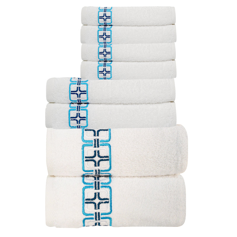 May Embroidered Turkish Cotton Towel Set of 8 | Classic Turkish Towels