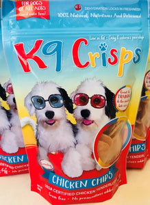 Are you looking for a dog treat that will make your dogs behave? K9Crisps is 100% chicken tenderloin chips!