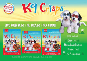 K9CRISPS ARE YOUR SINGLE PROTEIN, LOW FAT, LOW CALORIE DOG TREAT!