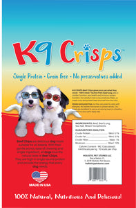 K9CRISPS BEEF CHIPS WITH BEEF LUNF FOR HEART HEALTH
