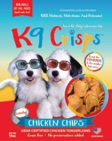 K9CRISPS DOGGIE CHICKEN CHIPS IN BAG WITH CHIPS SHOWING THROUGH A WINDOR ON FRONT OF BAG
