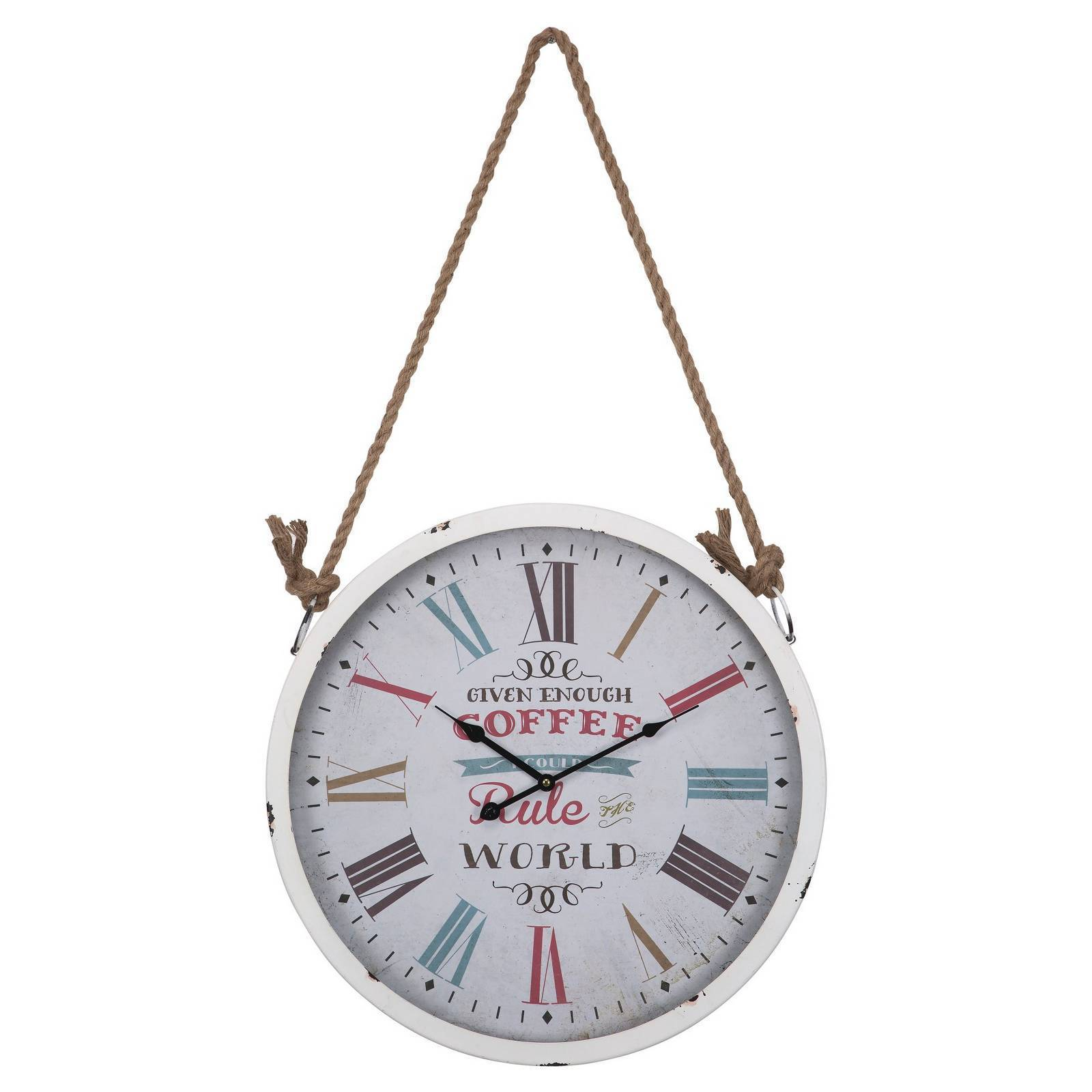 20.75 Hanging Round Wall Clock Distressed White Yosemite Home Decor