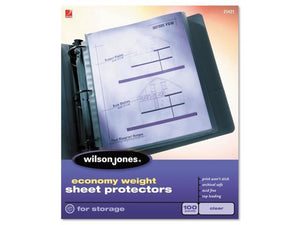 http://www.ebay.com/itm/Wilson-Jones-21420-Economy-Weight-Sheet-Protector-Clear-50-Box-/291495377465
