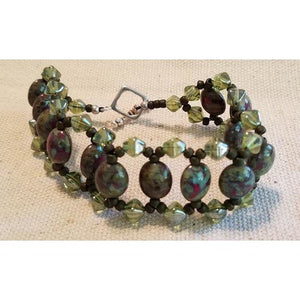 Olive Green/Cranberry Beaded Bracelet