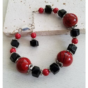 Onyx & Red Glass Bracelet