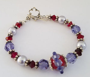 Tanzanite & Red Lampwork Bracelet