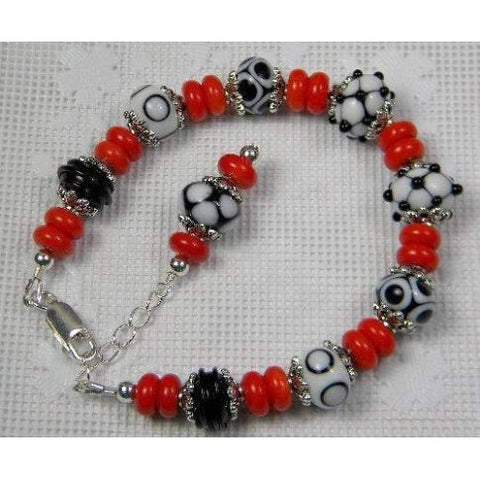 Black, White & Red Bracelet