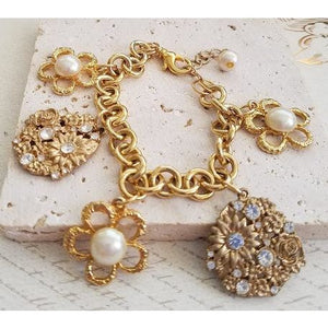 Golden Flowers Charm Bracelet