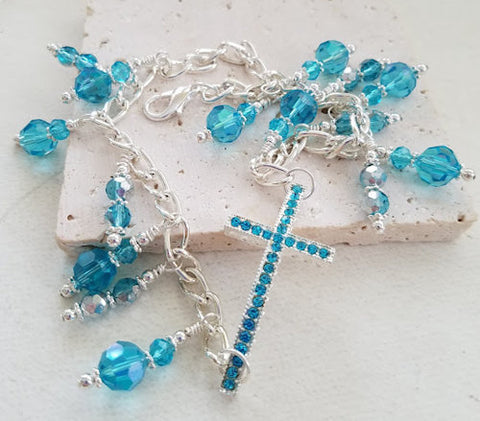 Aqua Rhinestone Cross Boot Bangle