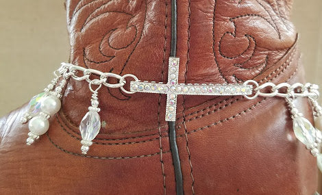 Crystal Rhinestone Cross Boot Bangle