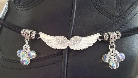 Silver Rhinestone Wing Boot Bangle