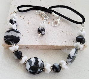Zebra Jasper & Milk Glass Boot Bangle