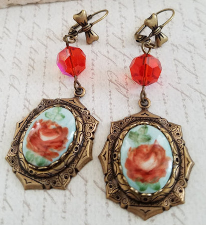 Handpainted Floral Cameo Earrings