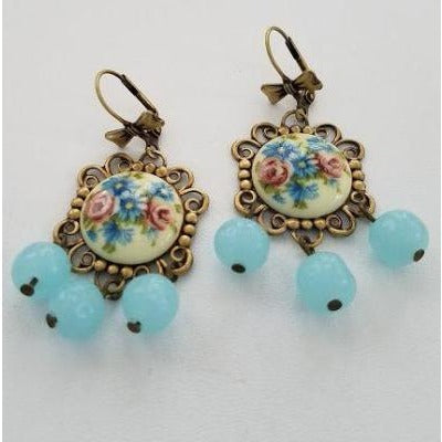 Blue & Pink Floral Cameo Earrings